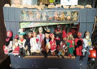 Antique Puppet Theatre with 13 Puppets