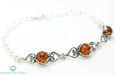 Natural Baltic Amber Jewellery Sterling Silver 925 Bracelet Certified Gift Box