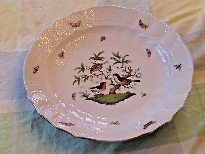 "HEREND Rothschild Bird 13 3/4"" Round Deep Serving DIsh/Platter/Charger 1151/RO"