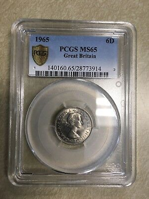 1965 Great Britain sixpence 6d PCGS MS65
