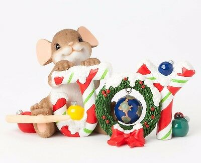 "New ""Joy To The World"" CHARMING TAILS Figurine Enesco Christmas Holiday Figure"