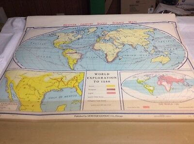 Vintage Denoyer-Geppert World Exploration to 1580 Pull Down Map c. 1967 01234A