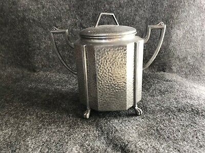 Pewter Civic Tea Caddy hammered Art Deco Modernist style