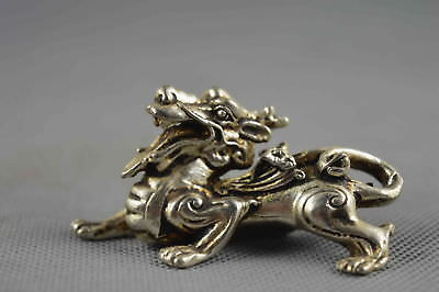Collectable Handwork Old Miao Silver Carve Ancient Special Kylin Lukcy Statue