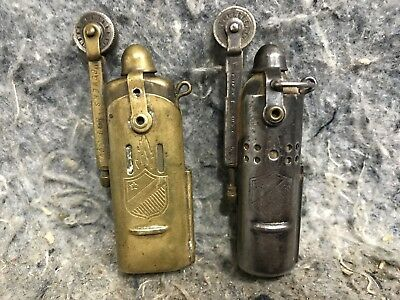 "Lot Of 2 WW2 Vintage Bowers ""Slide Sleeve"" Cigarette Lighter Kalamazoo Mich"