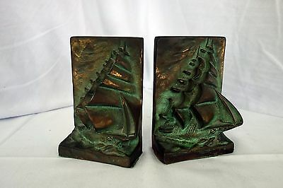 Pair of Antique Nautical brass? metal bookends clipper ship