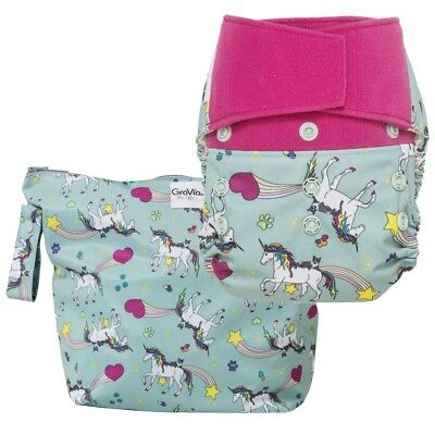 NWT - GroVia Cloth Diaper and Wetbag Purrrrfect Combo -Hook Loop Shell - Unicorn