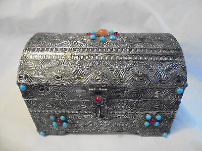 Antique/vintage Anglo Indian/Asian Embossed silver/glass jewelled/beaded chest.
