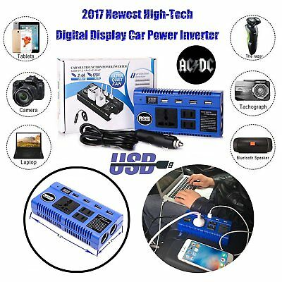 Car Power Inverter Converter 12V DC Battery to 110V AC 200W Socket Adapter+4 USB