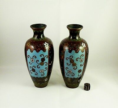 Pair Of Antique Chinese Cloisonne Vases circa 1900 AF