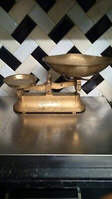 Rare Antique V.h Marsden Kitchen Baker Scales British Made Brass And Cast Iron