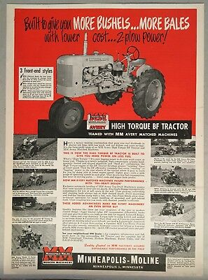 1951 MINNEAPOLIS-MOLINE TRACTOR Large Ad MM High Torque BF w/ MM Avery Machines