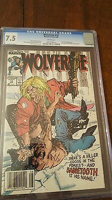 Wolverine #10 CGC 7.5 VF- Sabretooth fight! (1988) solo series