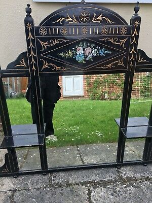 Victorian Mirror Over mantle Ebonised With Hand Painted Frieze