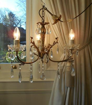 French Vintage Bronze Rococo Crystal 3Lt Chandelier #2