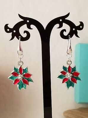 Christmas Red And Green Enamel Poinsettia Earrings On Sterling Silver Earwires