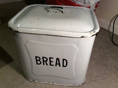 Vintage/Antique White Enamel Bread Bin With Handles And Black 'Bread' Lettering