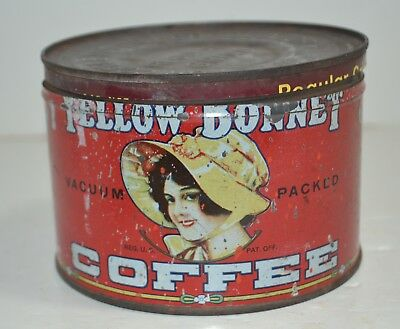 VINTAGE YELLOW BONNET COFFEE TIN CAN 1lb  + LID