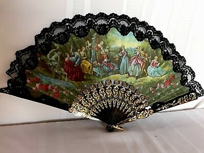 Antique Vintage Hand Fan Cloth