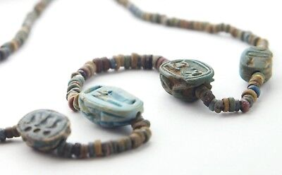 Ancient Rare Egypt Necklace - Faience Beads With 4 Important  Royal Scarabs