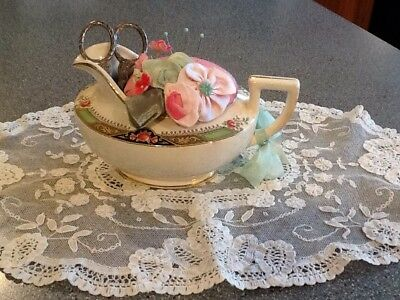 Antique Homer Laughlin Creamer Pin Cushion Silk With Ribbonwork Flowers Scissors