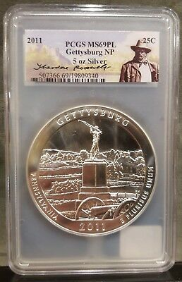 2011 PCGS MS69PL Theodore Roosevelt Label ATB Gettysburg 5oz .999 Silver Coin