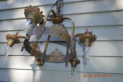 Fine Antique Spanish Revival Hanging  Ceiling Lamp * Gothic  Medieval Chandelier