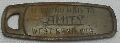 Vintage Key Tag If Found Mail To Amity West Bend, Wis. Key Chain