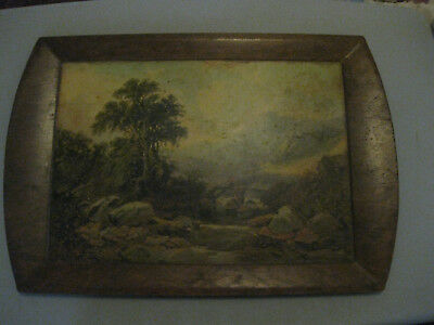 Antique, Wooden Serving Tray / Platter, applied Litho/Print by T.M.Richardson