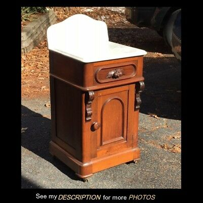 Victorian Black Walnut MT HALF COMMODE Washstand Nightstand Fruit Carving