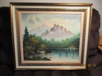 RENGER OIL PAINTING on CANVAS EARLY 20th C. MOUNTAIN LANDSCAPE FRAMED BEAUTIFUL