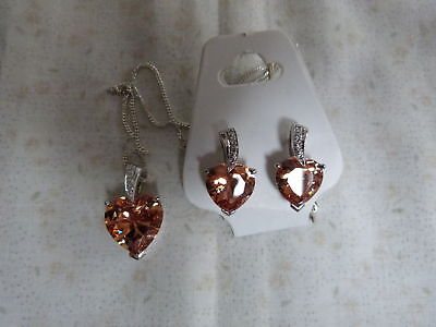 Sterling Silver Heart Set Necklace & Earings