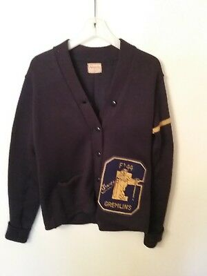 Vintage 1944 High  Varsity Letterman Sweater With Patches Size