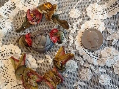 Antique 1920's Ribbonwork Flower Pieces All Original Metallic Silk Trim