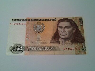 Peru 500 Intis Banknote. Mint Uncirculated