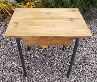 side table, vintage school desk, French metal wood lamp table