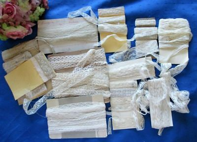 Large Antique Lot Of Cotton Lace Lengths~Many Yards~Dolls~Costuming