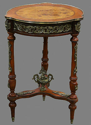 Vintage French Louis XVI Style Ornate Brass Ormolu Walnut Accent Side Table