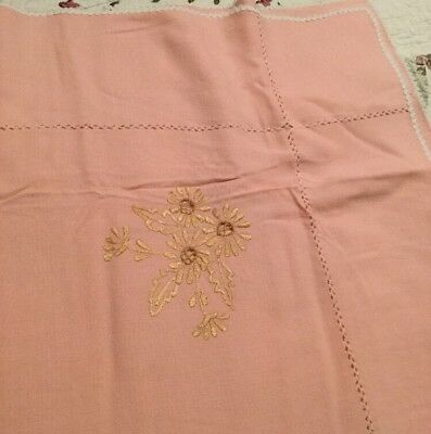 "Vintage Peach Tablecloth with Gold Flowers and White Trim 42 1/2"" x 42 1/2"""