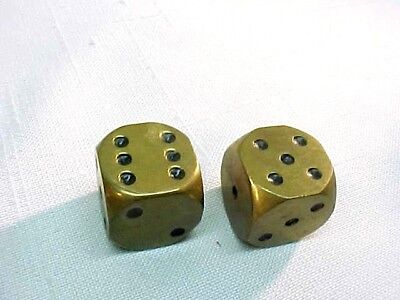 Great Vintage Solid Brass Dice LARGE 1 Inch Gambling Luck