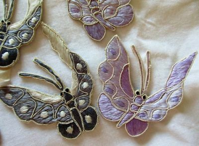Antique Lot Of 9 Hand Stitched Chinese Embroidered Silk Butterflies~Appliques