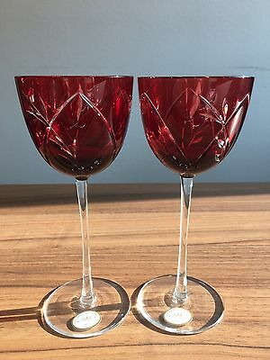 Original Ajka Ruby Clear Cut Hungarian Crystal Wine Goblets set of 2 - Brand New