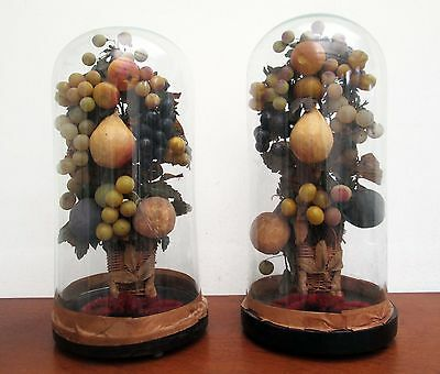 Pair Of Victorian Wax And Papier Mache Fruit In Basket Under Glass Domes