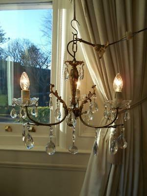 French Vintage Bronze Rococo Crystal 3Lt Chandelier #1