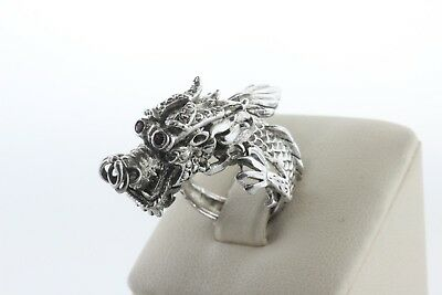 Textured Dragon Creature Ruby Eyes Scales Sterling Silver 925 Wrap Ring - Sz 5