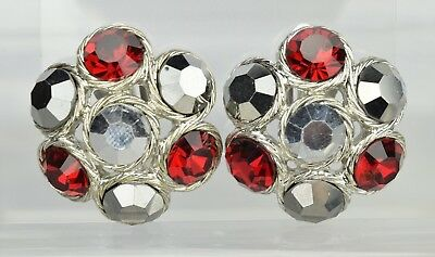 Gorgeous Vintage High End Red Gray Silver Metallic Rhinestone Clip On Earrings