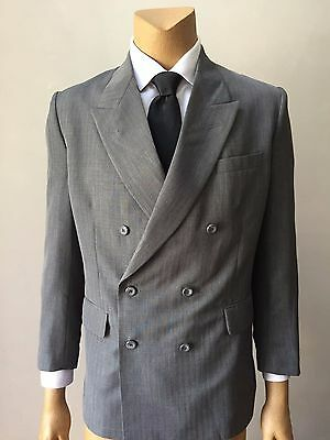 Georgio Saint Angelo Men's Double Breasted 2 Two Piece Gray Vintage Suit 40R