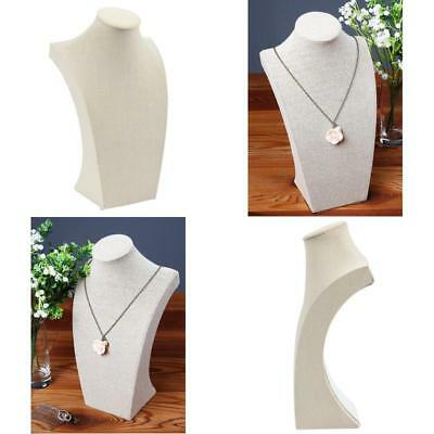 Linen Wood Necklace Bust Jewelry Display Stand Bracelet Chain Holder Pendant