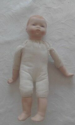 Antique unbranded Composition Baby Doll- soft cloth- Porcelain circa 1930s