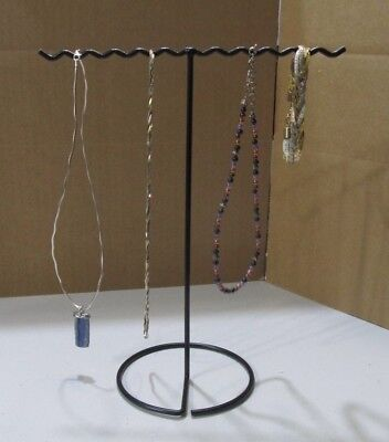 Black Vinyl-Coated Metal Necklace Chain Hanger Stand Display Storage 2 Arm T-Bar